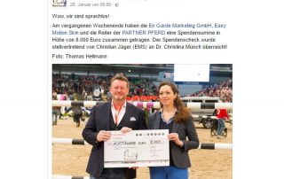 """Spendenübergabe an den gemeinnützigen Verein """"Pferde für unsere Kinder e.V."""""""