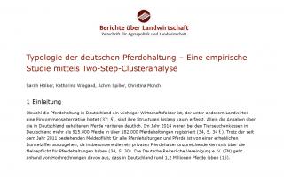 Berichte über die Landwirtschaft - Typologie der deutschen Pferdehaltung