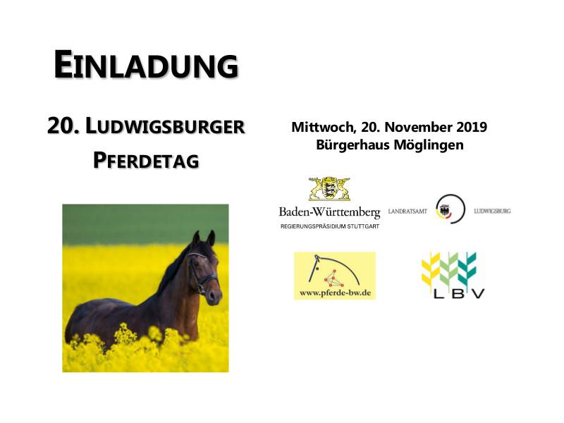 Einladung 20. Ludwigsburger Pferdetag 2020, Möglingen