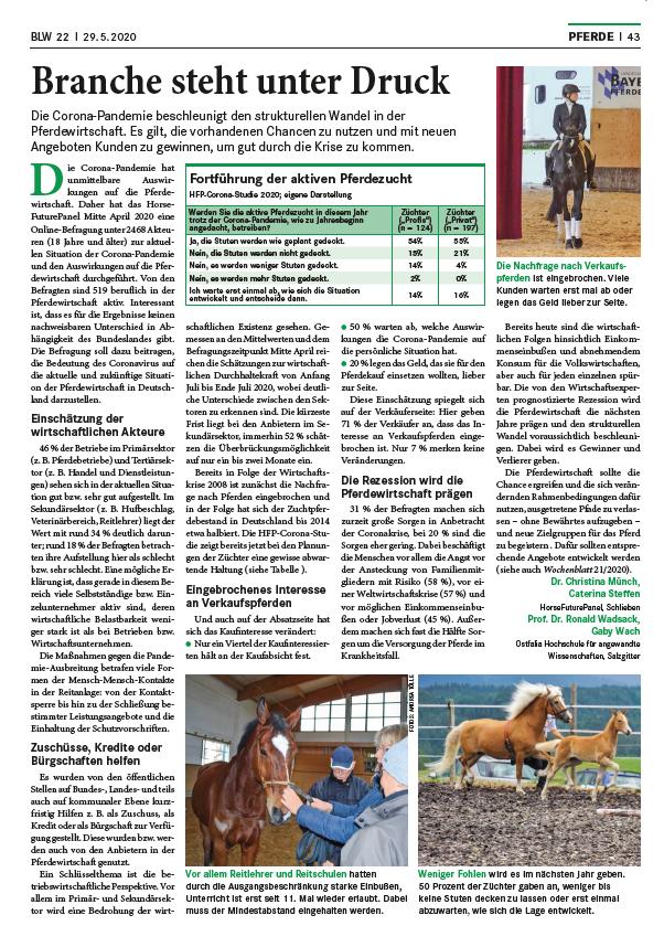 BLW Wochenblatt dlv Mai 2020 - Branche steht unter Druck