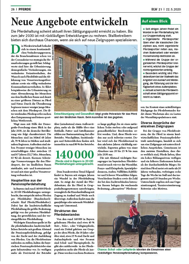 BLW Wochenblatt dlv Mai 2020 - Neue Angebote entwickeln