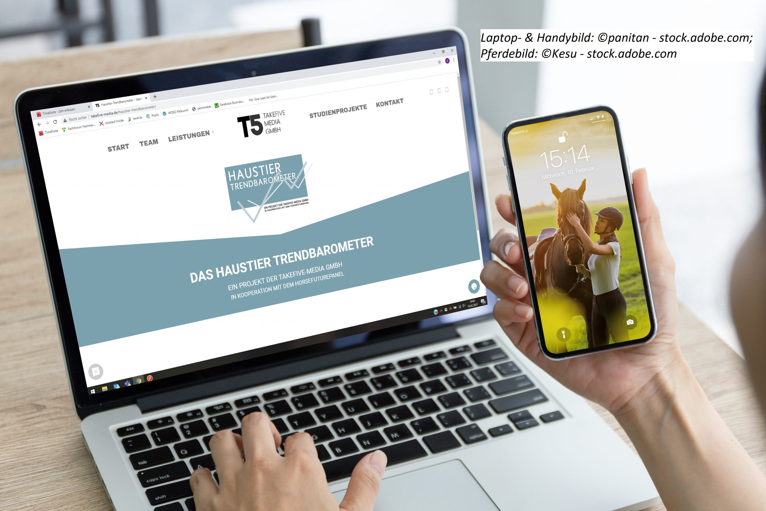 AdobeStock_315388736; Laptop- und Handybild panitan, stock.adobe.com, Pferdebild Kesu, stock.adobe.com